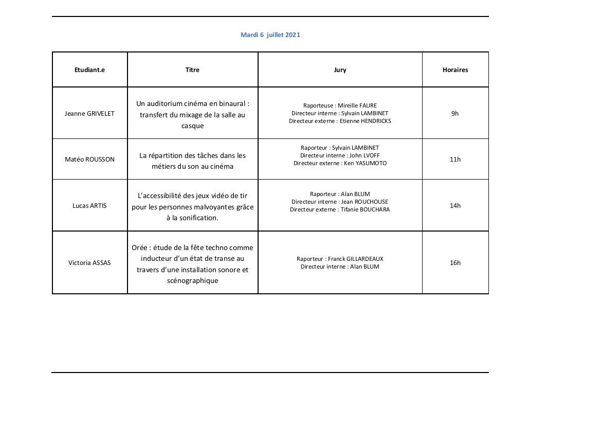 Calendrier Soutenances Son Web Juin 2021 2